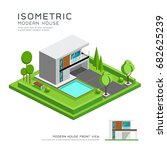 modern home isometric with lawn ... | Shutterstock .eps vector #682625239