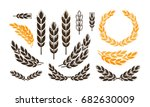 ear wheat  bread logo or label. ... | Shutterstock .eps vector #682630009