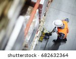 above view of warehouse loader... | Shutterstock . vector #682632364