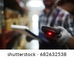 closeup of bar code reader in... | Shutterstock . vector #682632538