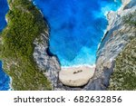 aerial view of navagio ... | Shutterstock . vector #682632856