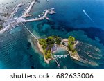 aerial view agios sostis with...   Shutterstock . vector #682633006