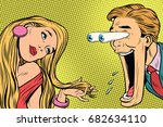 the funny man reacts to a... | Shutterstock .eps vector #682634110