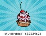 cupcake dessert with cherries...   Shutterstock .eps vector #682634626