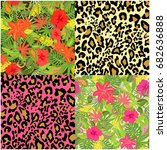 collection of decorative floral ... | Shutterstock .eps vector #682636888