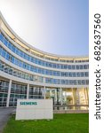 Small photo of Munich, Germany - April 4, 2016: Modern headquarters office building of German industrial corporation Siemens AG