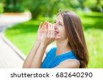 young beautiful brunette woman... | Shutterstock . vector #682640290