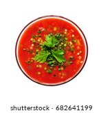 top view of tomato soup... | Shutterstock . vector #682641199