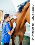 vet giving injection to a horse.... | Shutterstock . vector #682643080
