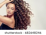 brunette  girl with long  and   ... | Shutterstock . vector #682648246