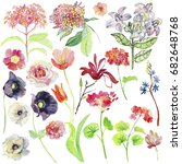 watercolor set with different... | Shutterstock . vector #682648768