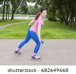 pretty young and slim woman on... | Shutterstock . vector #682649668