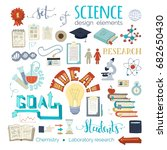 vector set of science design... | Shutterstock .eps vector #682650430