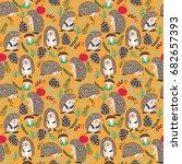 vector seamless hedgehog cute... | Shutterstock .eps vector #682657393