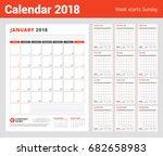 calendar template for 2018 year.... | Shutterstock .eps vector #682658983