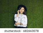 charming international student... | Shutterstock . vector #682663078