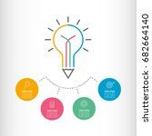 creative writing. light bulb... | Shutterstock .eps vector #682664140