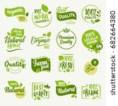 Organic food, farm fresh and natural product stickers and badges collection for food market, ecommerce, organic products promotion, healthy life and premium quality food and drink. | Shutterstock vector #682664380