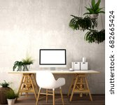 interior design for working... | Shutterstock . vector #682665424