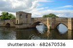 the historic packhorse bridge... | Shutterstock . vector #682670536