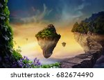 floating islands with... | Shutterstock . vector #682674490