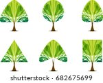 green trees icon set with... | Shutterstock .eps vector #682675699