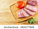 a piece of ham and tomatoes... | Shutterstock . vector #682677868
