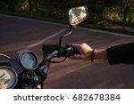 biker's hand holding motorcycle ... | Shutterstock . vector #682678384
