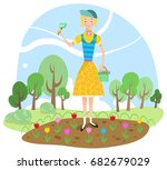 girl holding rake and bucket... | Shutterstock .eps vector #682679029
