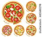 pizza top view set with... | Shutterstock .eps vector #682680298