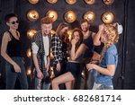 party with friends. group of... | Shutterstock . vector #682681714