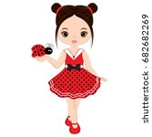 Vector Cute Little Girl With...