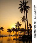 palm forest silhouettes on... | Shutterstock . vector #68268499