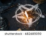 Small photo of Sinister ritual of Satan worship. Halloween concept. Black magic.
