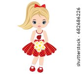 vector cute little girl with... | Shutterstock .eps vector #682686226