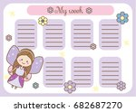 Kids Timetable With Cute Fairy...