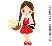 vector cute little girl with... | Shutterstock .eps vector #682689334