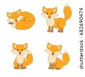 cute cartoon foxes set. forest... | Shutterstock .eps vector #682690474