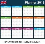 uk planner blank for 2018.... | Shutterstock .eps vector #682692334