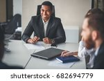 successful team leader and... | Shutterstock . vector #682694779