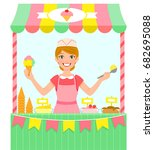 happy young woman selling ice... | Shutterstock . vector #682695088