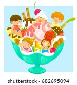 happy kids in a cup of ice... | Shutterstock . vector #682695094