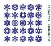 Set Of Snowflakes On A White...