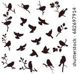 vector set of birds and twigs.... | Shutterstock .eps vector #682697914