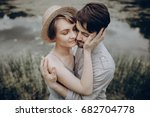 stylish hipster couple hugging... | Shutterstock . vector #682704778