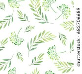 green  leaves seamless pattern. ... | Shutterstock . vector #682706689