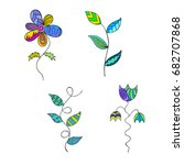 collection of color plants.... | Shutterstock .eps vector #682707868