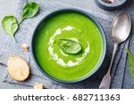 spinach soup with cream in a... | Shutterstock . vector #682711363
