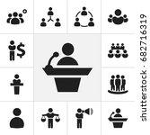 set of 12 editable business... | Shutterstock .eps vector #682716319