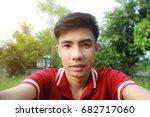 portrait asian man selfie on... | Shutterstock . vector #682717060